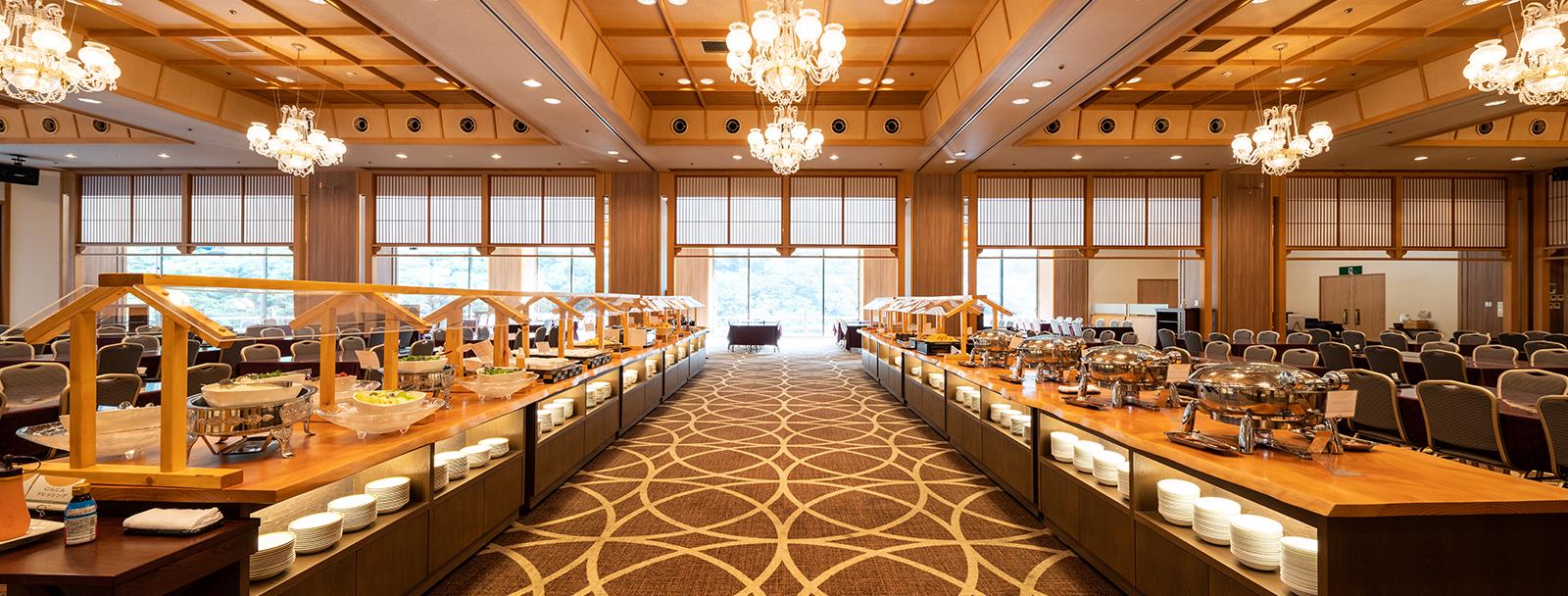 量も種類もお好みで一日の元気の源、大川荘の朝食